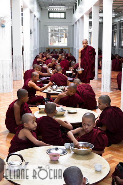 Monks in Bago - Lunch Time